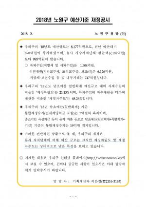 2018년 노원구 예산기준 재정공시
