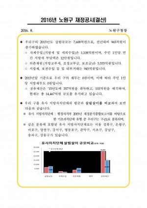 2016년 노원구 재정공시(결산)