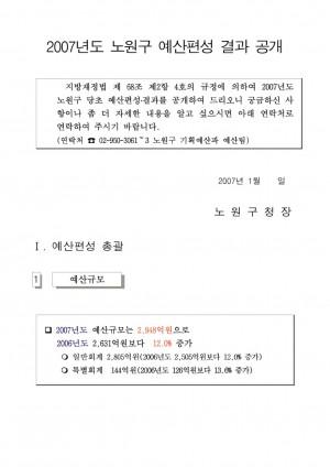 2007년 노원구 예산현황